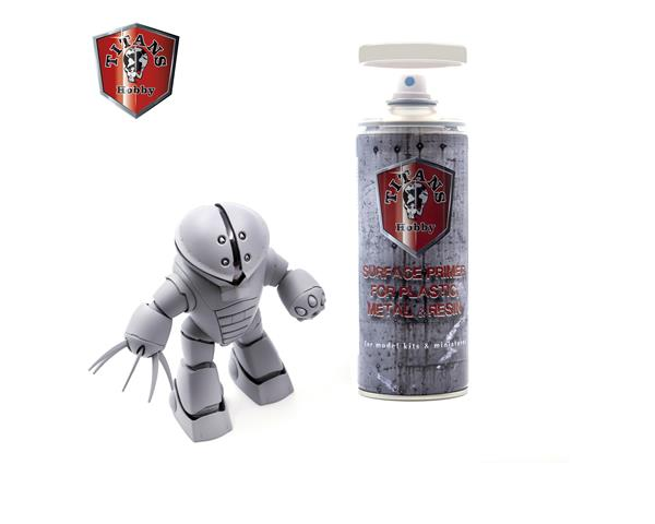 TITANS HOBBY:  LIGHT GREY MATT PRIMER - 400ml Spray for Plastic, Metal & Resin
