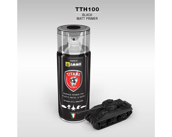 TITANS HOBBY:  BLACK MATT PRIMER - 400ml Spray for Plastic, Metal & Resin